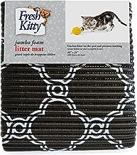 Fresh Kitty Soft Jumbo Foam Easy Clean Litter Trapping Mat for Pet Cat Litter Box, Black & White Quatrefoil