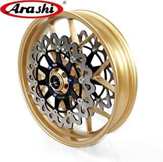 Arashi Front Wheel Rim and Brake Rotors for HONDA CBR1000RR 2006-2017 Motorcycle Replacement Accessories CBR 1000 RR CBR1000 ABS Repsol SP Gold 2007 2008 2009 2010 2011 2012 2013 2014 2015 2016