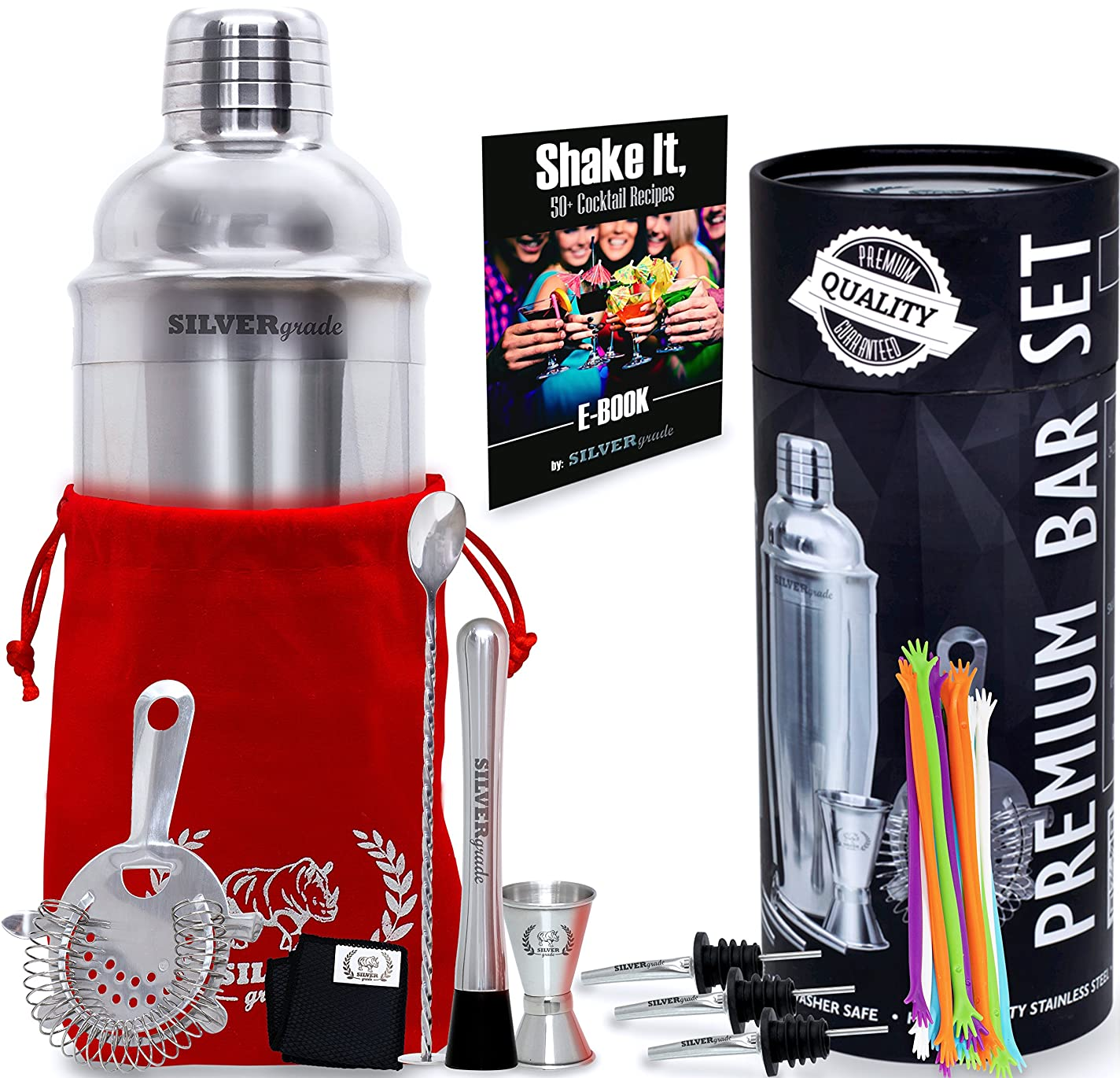 暴露略奪過敏なCocktail Shaker Set - Professional Bartender Kit in a Luxury Bag, Martini Bar Mixed Muddler Mixing Spoon Strainer Jigger 2 Pourers Stirrers and eBook, Great Gift Idea - Barware Tools by SILVERgrade by SILVERgrade