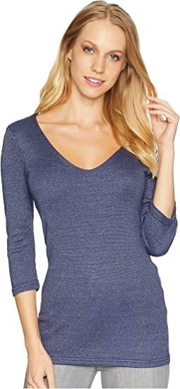 Shine 3/4 Sleeve Double Front V-Neck