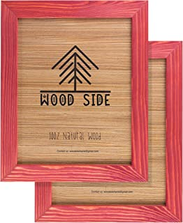 Rustic Wooden Picture Frames 8x10 - Red - Set of 2 - 100% Natural Eco Solid Wood and High Definition Real Glass for Wall Hanging Photo Frame