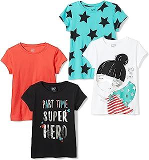 Spotted Zebra Girls' 4-Pack Short-Sleeve T-Shirts