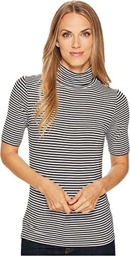 Short Sleeve Stripe Mock Neck