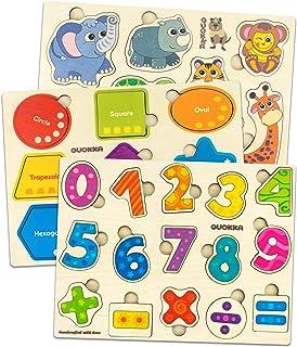 Quokka Bebe Puzzles en Bois 1 2 3 ans, Jouet Enfants Montessori 2 ans Fille et Garçon, Animaux de Puzzle, Nombres de Puzzl...