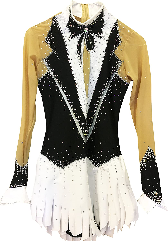 Heart&M Handmade Ice Skating Dress For Women, Figure Skating Competition Professional Costume Long Sleeved Skating Dress Black White