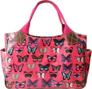 (Butterfly Plum) - Miss Lulu Women's Girls Oilcloth Flower Owl Polka Dot Butterfly Day Tote Shopper Travel Hand Bag
