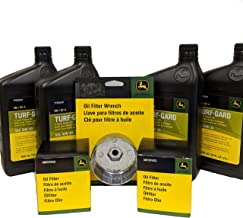 John Deere Double Oil Change Kit, Includes Filter Wrench - (4) TY22029 + (2) AM107423 + TY26639