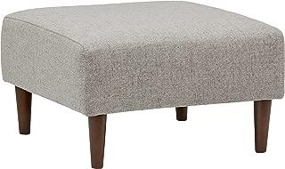 Rivet Ava Mid-Century Modern Upholstered Ottoman, 25.6