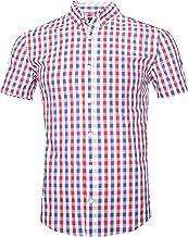 GILBETI Men's Casual Plaid Short Sleeve Button Down Shirts