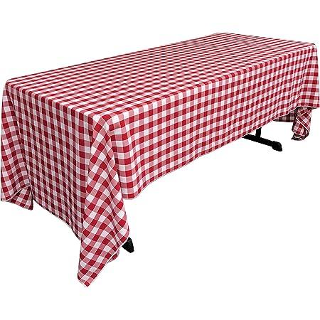 Amazon Com La Linen Rectangular Checkered Tablecloth Red And White 60 X 126 Home Kitchen