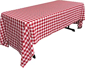 LA Linen Checkered Tablecloth, 60 by 126-Inch, Red