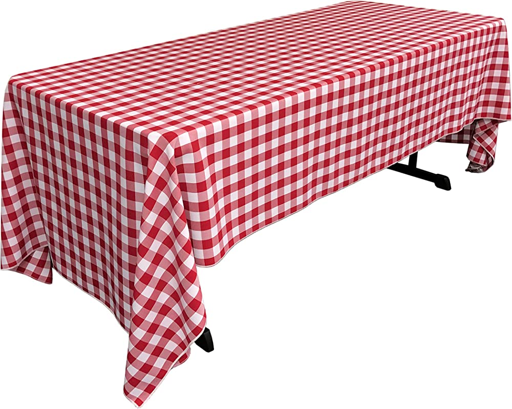 LA Linen Rectangular Checkered Tablecloth White 60 X 126 Red