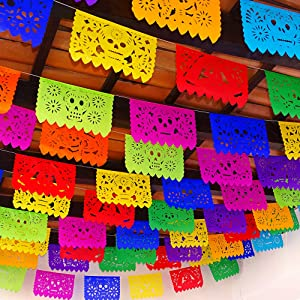5 Pk Papel Picado Dia de Los Muertos Banners 60 feet Total, Made from Colorful Tissue Paper Flags WS200