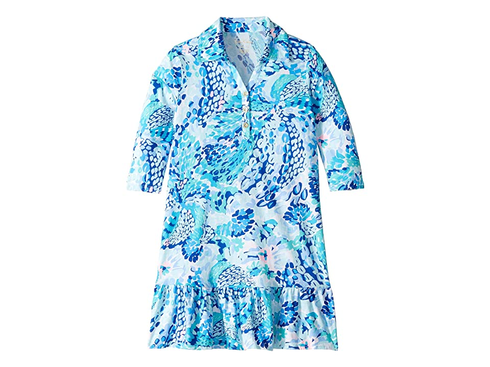 Lilly Pulitzer Kids Amelia Polo Dress (Toddler/Little Kids/Big Kids) (Turquoise Oasis Wave After Wave) Girl
