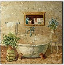 CVHOMEDECO. Primitive Vintage Hand Painted Wooden Frame Wall Hanging 3D Painting Decoration Art, Bathroom Design, 15 x 15 ...