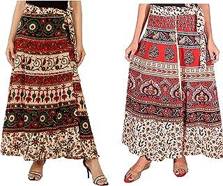 Modern Kart Women's Bagru Print Wrap Around Skirt Cotton Combo of 2 Skirts (Beige).
