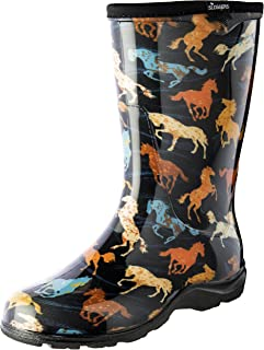 9bb6fc03343d98 Sloggers Women's Waterproof Rain and Garden Boot with Comfort Insole, Horse  Spirit Black, Size