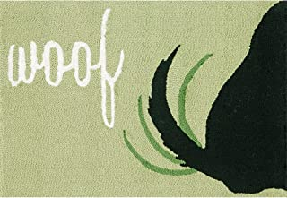 Liora Manne FTP23142906 1429/06 Front Porch Dog Woof Green Indoor/Outdoor Rug, 2' X 3', Black