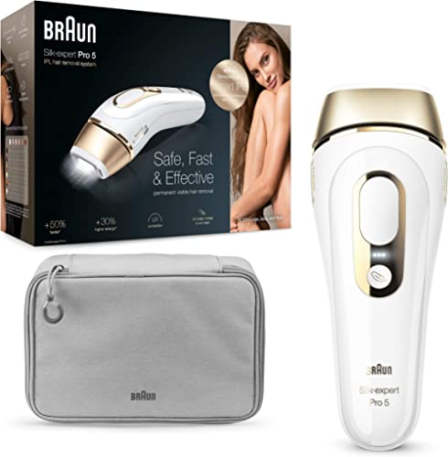 Braun Silk·Expert Pro 5 PL5014 Épilateur Lumière Pulsée Intense IPL Dernière Génération, Épilation Visible, Blanc/Dor...
