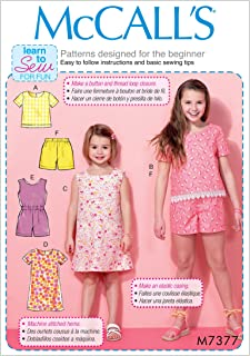 McCall's Patterns M7377CHJ Children's/Girls' Tops/Tent Dresses/Blouson-Bodice Romper and Shorts