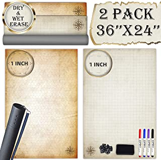 """Battle Grid Game Mat - 2 Pack 24""""x36"""" Vinyl Game Mats - Table Top Role Playing Map - Reusable RPG Dungeons and Dragons (DND) Game Map - Portable Plastic Storage Tube and Markers, Eraser, Dice Set Inc"""