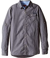 7 For All Mankind Kids - Roll-Tab Sleeve Poplin Button Up Shirt with Chambray (Big Kids)