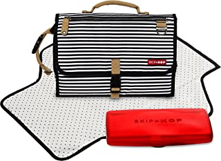 Skip Hop Pronto Signature Portable Changing Mat, Cushioned Diaper Changing Pad with Built-in Pillow, Black Stripe
