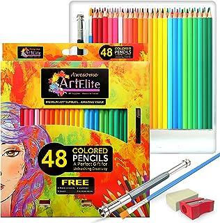 مداد رنگی - 48 مداد رنگی Pre-Sharpened Set for Premium Drawing & Coloring + 4 رایگان لوازم فوق العاده هنری-مناسب برای کودکان، دانش آموزان هنر و حرفه ای ها (48 بسته)