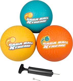 SCS Direct Gaga Playground Balls 3pk (8.5 inches) with Air Pump - Durable Rubber, Lightweight and Great for Dodgeball, Kickball, Gagaball Official Play