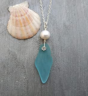 product image for Handmade in Hawaii, Large piece Turquoise Bay Blue simplistic design with Freshwater Pearl necklace, (Hawaii Gift Wrapped, Customizable Gift Message)