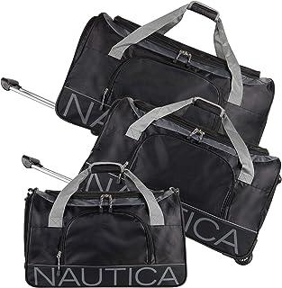 Nautica 3 Piece Duffle Set, Black/Steel Grey, One Size