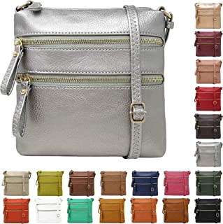 Solene Crossbody Bag Functional Multi Pocket Double Zipper Purse with Adjustable Strap