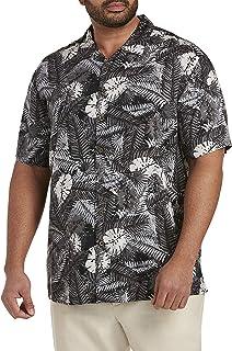 Island Passport by DXL Big and Tall Leaf Print Sport Shirt, Black