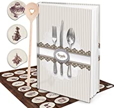 XXL receptbok din egen berättelse vintage shabby chic bestick matlagningsbok du skriver med antik vintage kök klistermärke...