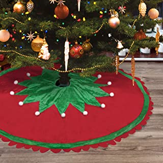 Christmas Tree Skirt - 48 inch Large Red Green White Christmas Tree Skirt with Elf Pattern and Ripple Side for Christmas Decorations for Xmas Tree Family Holiday Christmas Party Decorations