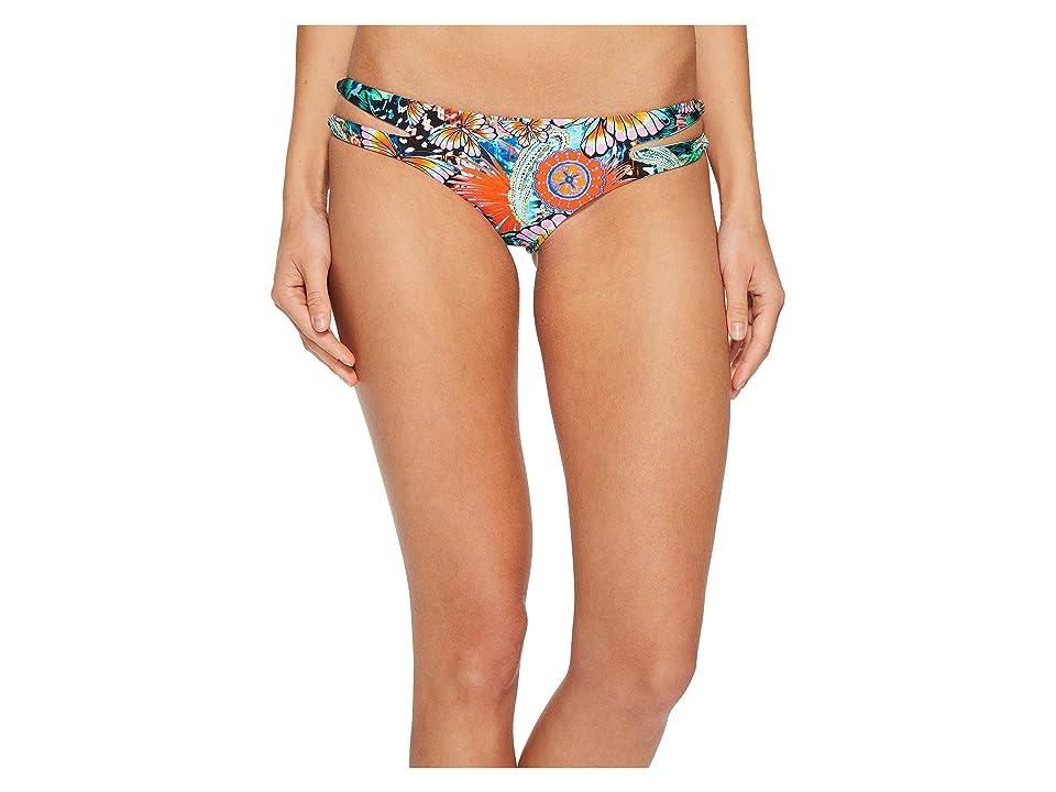 Luli Fama Viva Cuba Reversible Zigzag Open Side Moderate Bikini Bottom (Multi) Women
