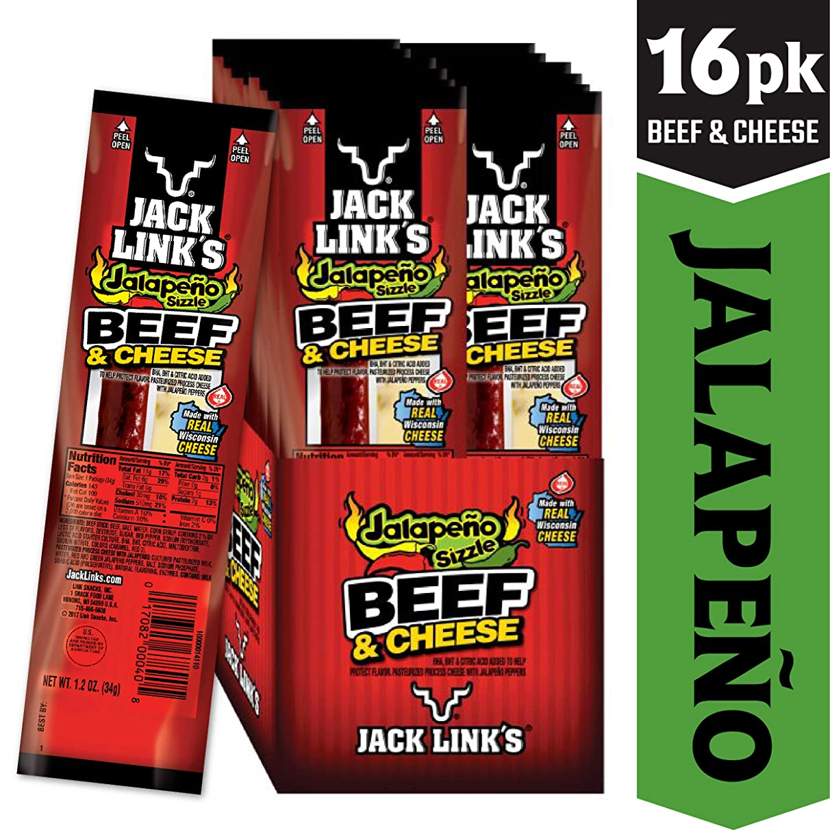 Jack Link's Combo Pack Jalapeno Sizzle Beef and Cheese Sticks Combo Pack, 1.2-Ounce (Pack of 16)