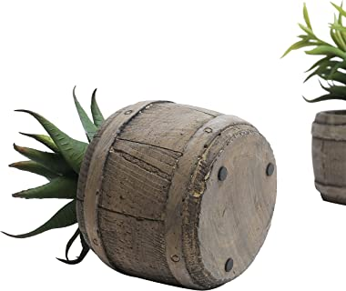 MyGift 6-Inch Assorted Mini Artificial Succulents Plants in Rustic Brown Wood Barrel Design Planter Pots, Set of 3