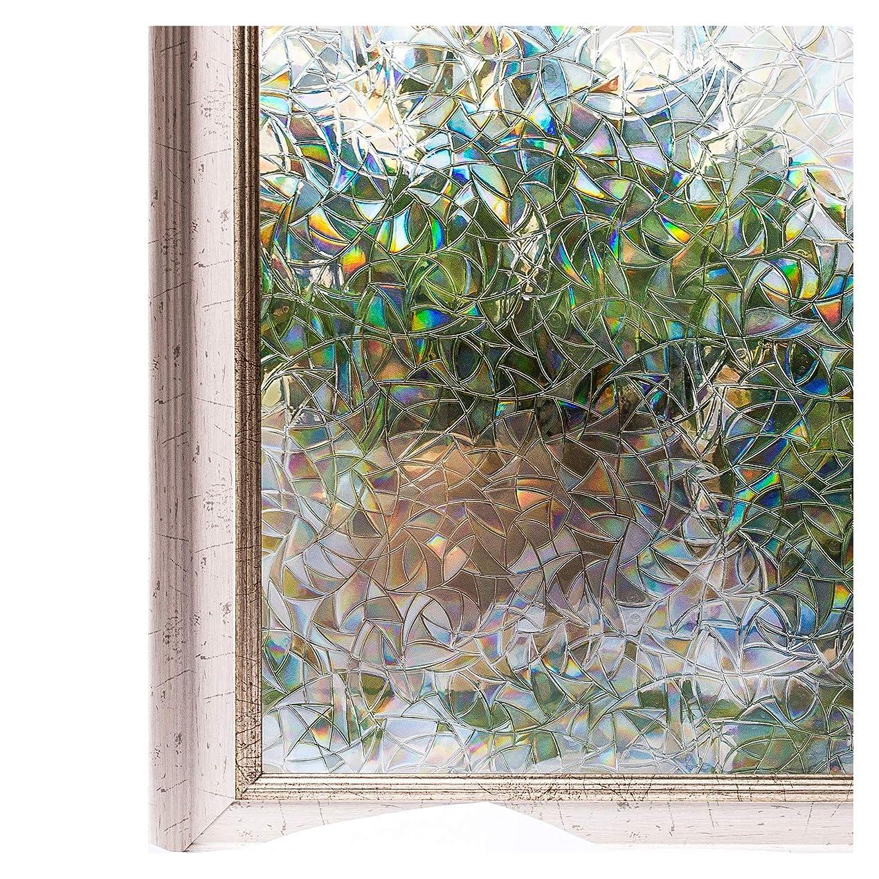 歩道ディスカウント高さCottonColors 窓用フィルム 目隠しシート 何度も貼直せる 窓ガラスフィルム 紫外線カット 90x200cm のり無し 3Dステンドグラス DIY 夢の間018