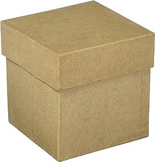 "Craft Pedlars Craft Ped Paper Mache Box 4"" Square Tall Kraft"