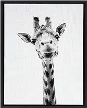 Kate and Laurel Sylvie Giraffe Animal Print Black and White Portrait Framed Canvas Wall Art by Simon Te Tai, 18x24 Black