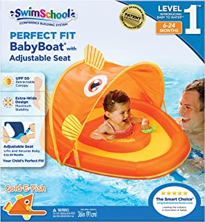 Swim School Goldfish Fabric Baby Boat Canopy, Upf 50 Perfect Adjustable Seat, Extra-Wide Inflatable Pool Float, Orange, 6 to 24 Months