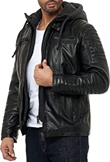 Redbridge - Black Padded Leather Jacket with Detachable Hood for Men