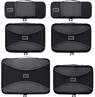 PRO Packing Cubes - 6 Set - Ultimate Travel Packing Cube System for Luggage Backpacks Tote Bags & weekend Bags (6 Piece Set Graphite)