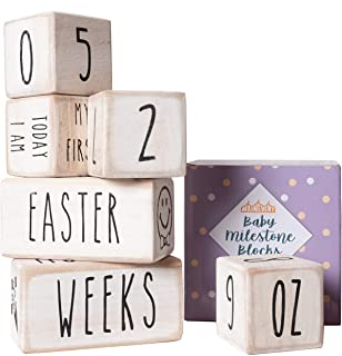 Baby Monthly Milestone Blocks - 6 Blocks, The Most Complete Set, Baby Photography Props for Social Media, Rustic Baby Nurs...