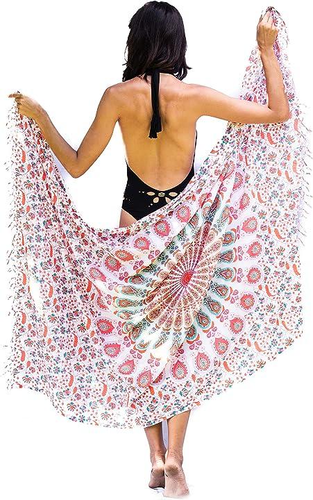 Pareo mare sarong la balneazione costume da bagno bikini avvolgono mandala life art donne rayon B071GJD16V