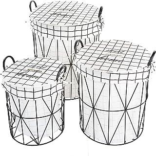 Cosy & Trendy 2017968 Lot de 3 paniers à linge Cadre Métal-Tissu