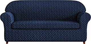 subrtex 2-Piece Geometric Sofa Slipcovers Stretch Fabric Couch Sofa Covers for Living Room (Navy)
