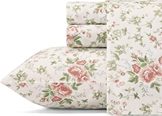 Laura Ashley Home - Sateen Collection - Sheet Set - 100% Cotton, Silky Smooth & Luminous Sheen, Wrinkle-Resistant Bedding,...