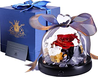 Golden Edge eternal Rose - Preserved Rose with LED Handmade Fresh Flower Rose with glass dome a Gift for Valentine`s Day Mother`s Day Christmas Anniversary Birthday Thanksgiving Girls(RED)